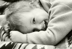 Vintage laughing kid. The carefree dared laughing boy Royalty Free Stock Images