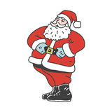 Vintage laughing santa claus isolated on white background. Retro illlustration for christmas card or sticker. Royalty Free Stock Images