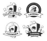 Vintage laundry service dry clean vector labels, emblems, logos, badges set. Basket and washing machine illustration Stock Photos