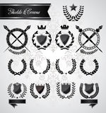 Vintage laurel, crowns and shields Stock Photo