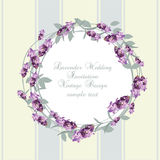 Vintage Lavender wreath card. Watercolor gentle elegant flowers frame. Vector watercolor floral round circle for greeting cards, wedding, invitations Stock Photos