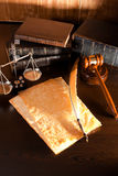 Vintage law. Vintage Quill Pen,Parchment and Law Concept Royalty Free Stock Photo