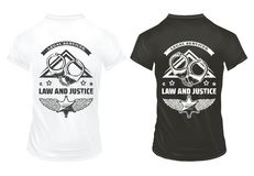 Vintage Law And Justice Prints Template. With inscription handcuffs and police badge on shirts isolated vector illustration Stock Images