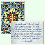 Vintage leaflets with mandala pattern on pale green background. Rectangular postcards with an unusual oriental pattern. A place for your advertising. Vector Stock Photography