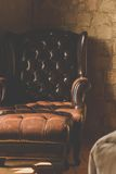 Vintage of leather Armchair Stock Images