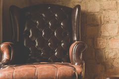 Vintage of leather Armchair Royalty Free Stock Image