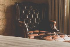 Vintage of leather Armchair Royalty Free Stock Photography