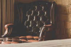 Vintage of leather Armchair Royalty Free Stock Photo