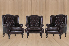 Vintage leather armchair Stock Photos