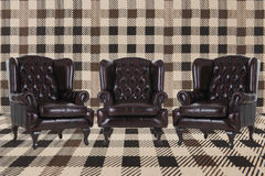 Vintage leather armchairs royalty free stock photos