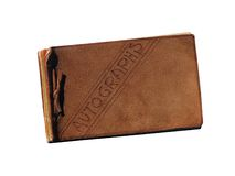 Vintage leather autograph book Stock Image