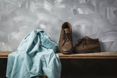 Vintage leather bag and clothing men style. Royalty Free Stock Images