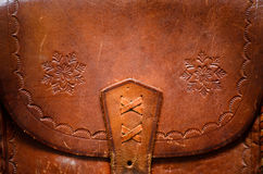 Vintage leather bag. Detail of a vintage leather bag Royalty Free Stock Photo