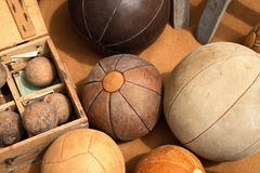 Vintage Leather Balls stock image