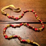 Vintage leather, beads and seeds necklace. Royalty Free Stock Images