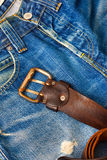Vintage leather belt with a buckle Stock Photos