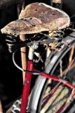 Vintage leather bicycle saddle Stock Photography