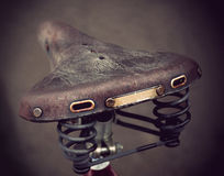 Vintage leather bike saddle Stock Images