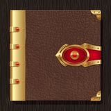 Vintage leather book hardcover. With golden decorative elements Royalty Free Stock Photo