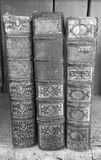 Vintage leather books. Black and white of vintage leather books on a shelf stock photo