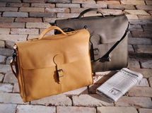 Vintage leather brief cases Stock Photos