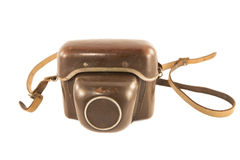 Vintage leather camera case Stock Image