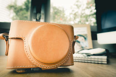 Vintage Leather Camera for Vacation Royalty Free Stock Photography