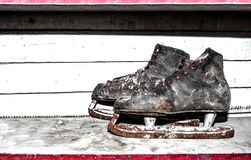 Vintage leather ice skates Stock Images