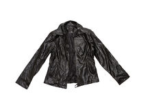 Vintage Leather jacket on white isolate with clipping path. Royalty Free Stock Photo