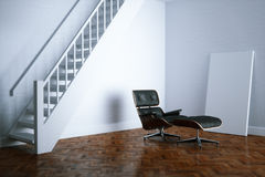 Vintage leather lounge chair in new white interior room with woo. Den floor and stairs 3D render version 2 Royalty Free Stock Photography