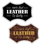 Vintage 100% Leather Product Stamp. In both clean and distressed  eps 10 Stock Images