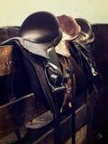 Vintage leather saddle horse Stock Photos