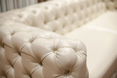 Vintage leather sofa, close up Royalty Free Stock Photography