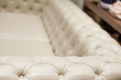 Vintage leather sofa, close up Stock Photography