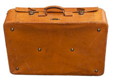 Vintage leather suitcase. Isolated on white. Clipping path included stock photography