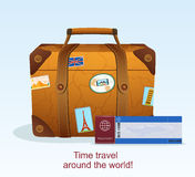 Vintage Leather Suitcase with Travel Sticker Stock Image