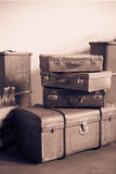 Vintage leather suitcases from the early 20th century. Royalty Free Stock Image