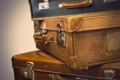 Vintage leather suitcases Royalty Free Stock Images