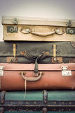 Vintage leather suitcases Stock Photos
