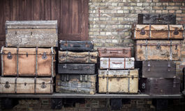 Vintage leather suitcases stacked vertically - Spreewald, Germany. royalty free stock photography