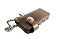 Vintage leather wallet with Chain. On isolated Stock Image
