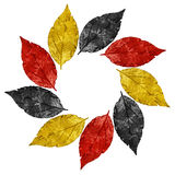 Vintage leaves frame with colours of Germany national flag Royalty Free Stock Photo
