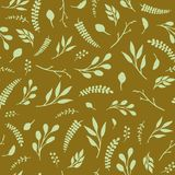 Vintage leaves seamless pattern. Dark color. Design for wallpapers, fabric.  Stock Photo