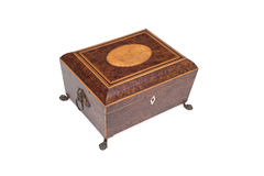 Vintage Legged Jewelry Box with Handle, Lock and Lid Shown Royalty Free Stock Photos
