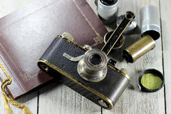 Vintage Leica I camera with accessories stock image