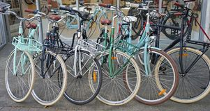 Vintage Lekker bicycles parked nicely in a row outside bike shop. Sydney, Australia - October 17, 2017: Vintage Lekker bicycles parked nicely in a row outside Stock Image