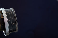 Vintage lens on black background Royalty Free Stock Images