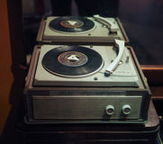 Vintage Lesa turntable in Turin. TURIN, ITALY - CIRCA JANUARY 2017: vintage Lesa turntable with 45 rpm single vinyl disc Royalty Free Stock Photo