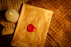 Vintage letter closed with wax seal Stock Photos