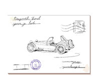 Vintage letter with old car2. Vector illustration eps8 Royalty Free Stock Photos